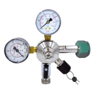 N2 pressure reducer for Stout beers, 2 manometers for bottle contents and working pressure, also for N2-CO2 mixed gas (Carbolin)