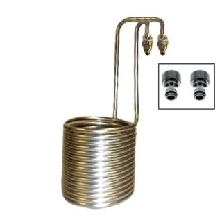 Wort cooler stainless steel STANDARD with Gardena compatible tap pieces, for 20 to 40 liters